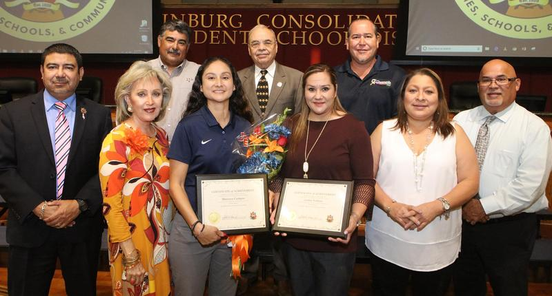 """Edinburg CISD Board of Trustees honors two coaches inducted into the 2019 Javelina Hall of Fame. Pictured: (bottom row L-R) Economedes High School Principal Jesus Mata, ECISD Board Member Dominga """"Minga"""" Vela, Economedes High School Girls Head Basketball Coach Mariana Casarez Campos, Kennedy Elementary School Physical Education Coach Lesley Zambrano Salinas, ECISD Board Member Leticia """"Letty"""" Garcia and ECISD Athletics Director Rogelio """"Roy"""" Garza; (top row L-R) ECISD Board Secretary Oscar Salinas, ECISD Interim Superintendent Gilberto Garza Jr. and ECISD Board Member Miguel """"Mike"""" Farias."""