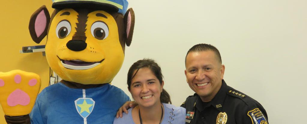 Chase from Paw Patrol, Jennifer Rincon and Officer Garivey