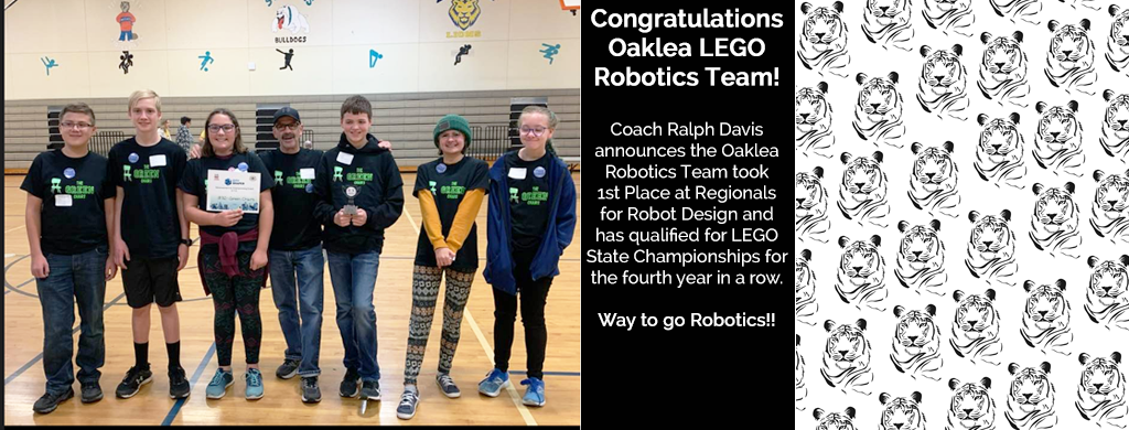 Coach Ralph Davisannounces the Oaklea Robotics Team took1st Place at Regionals for Robot Design and has qualified for  LEGO  State Championships for the fourth year  in a row.