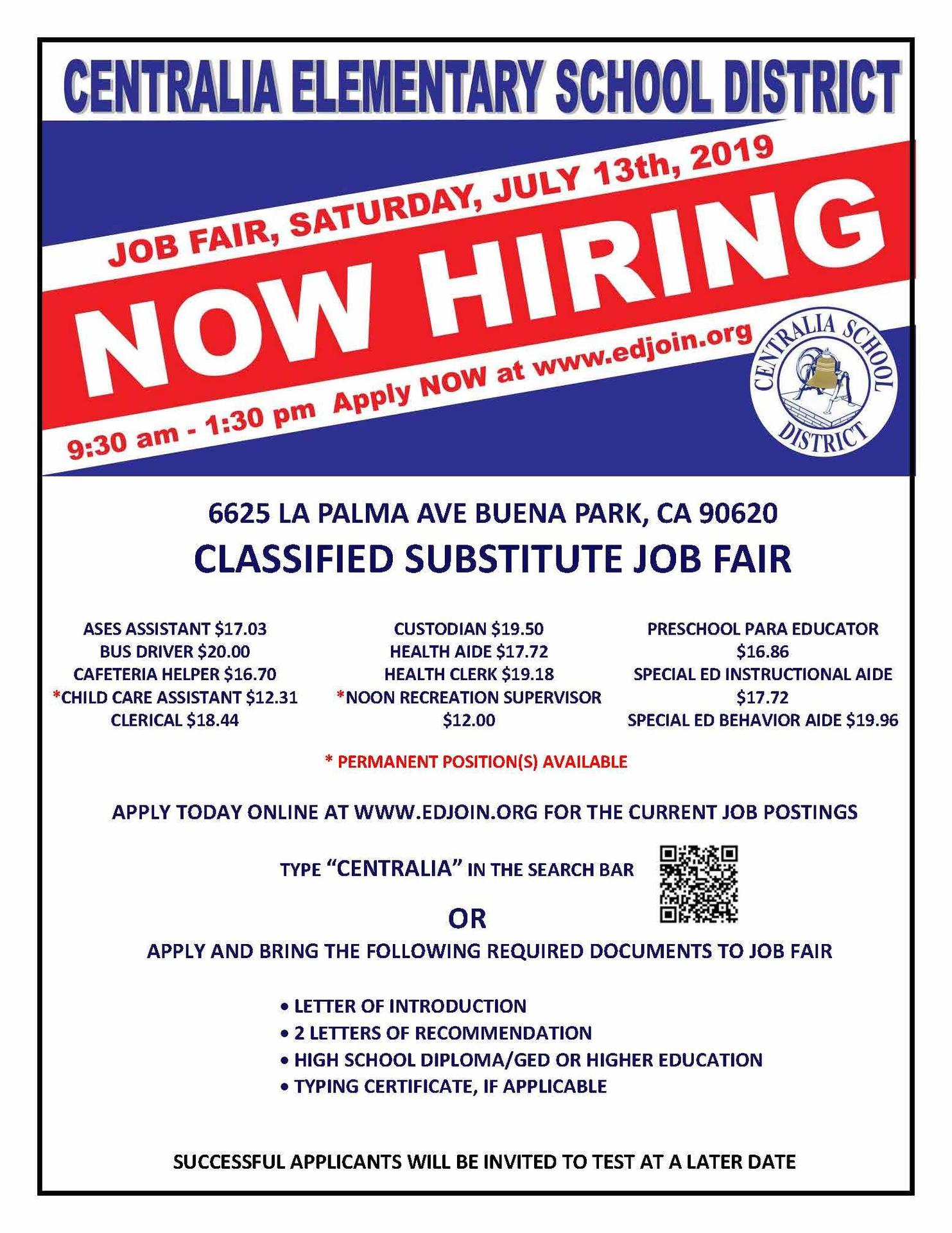 Flyer announcing Job Fair on July 13 from 9:30 to 1:30