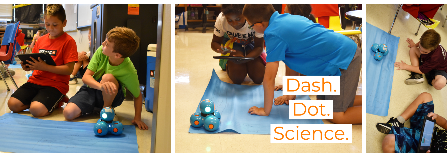 Elementary boys and girls navigate Dash and Dot
