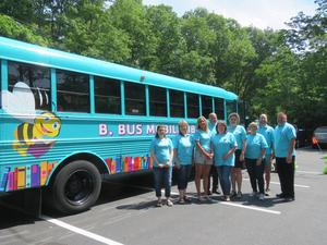 B. Bus committee members were proud to show the results of their efforts as the B. Bus gets ready to hit the streets.