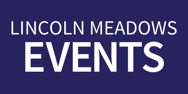Lincoln Meadows Events text on a dark blue rectangle button