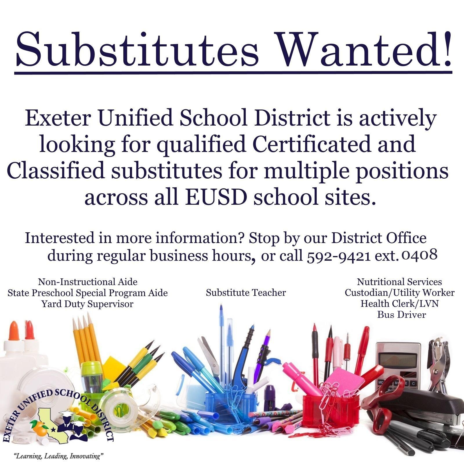 substitutes wanted for all positions flyer