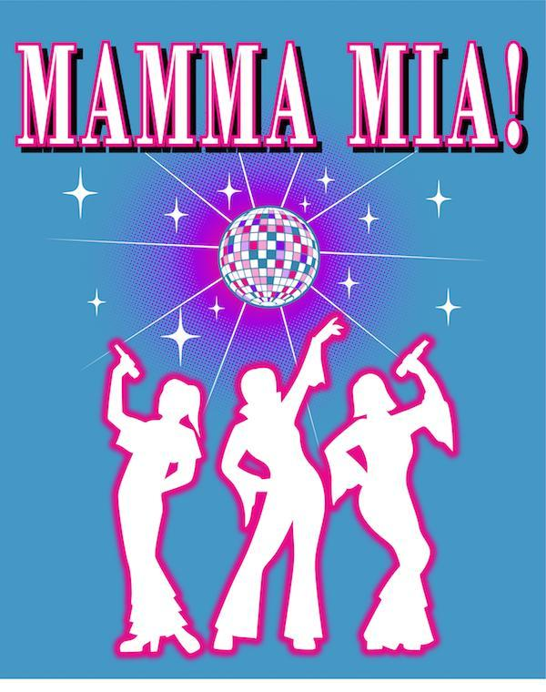 Mamma Mia Logo with 3 women holding microphones below the title