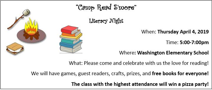 Literacy Night Camp S'more April 4th @ 5pm