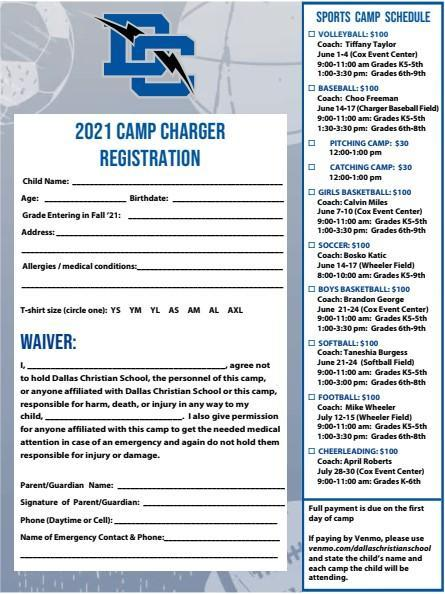 2021 Camp Charger Registration is Now Open! Featured Photo