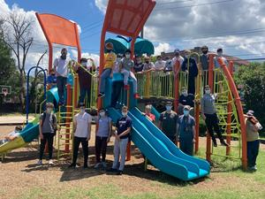 Xavier students helped clean up and weed a playground on their service trip to Camden, N.J.