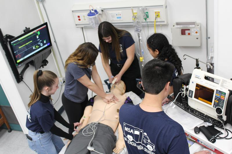 Valencia High School students train in a simulated ER as part of the school's Medical Science Academy