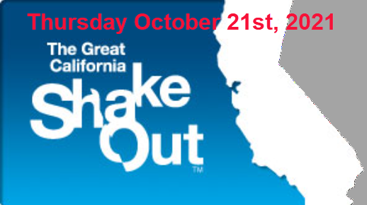 Outline of California with text: Thursday October 21st, 2021. The Great California Shakeout