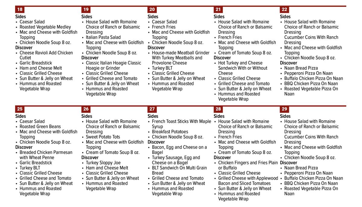 October menu 3
