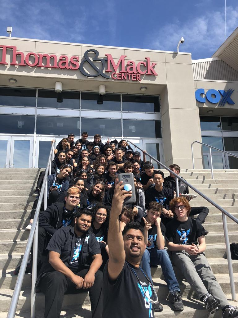 Team picture outside of Thomas & Mack Center