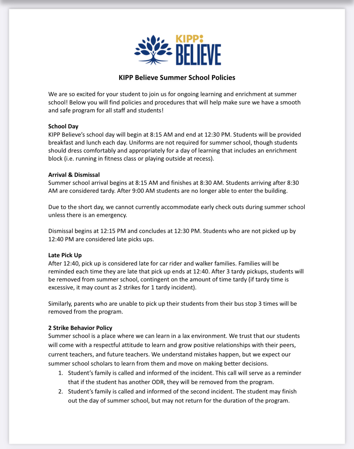 KBP Summer School Policies