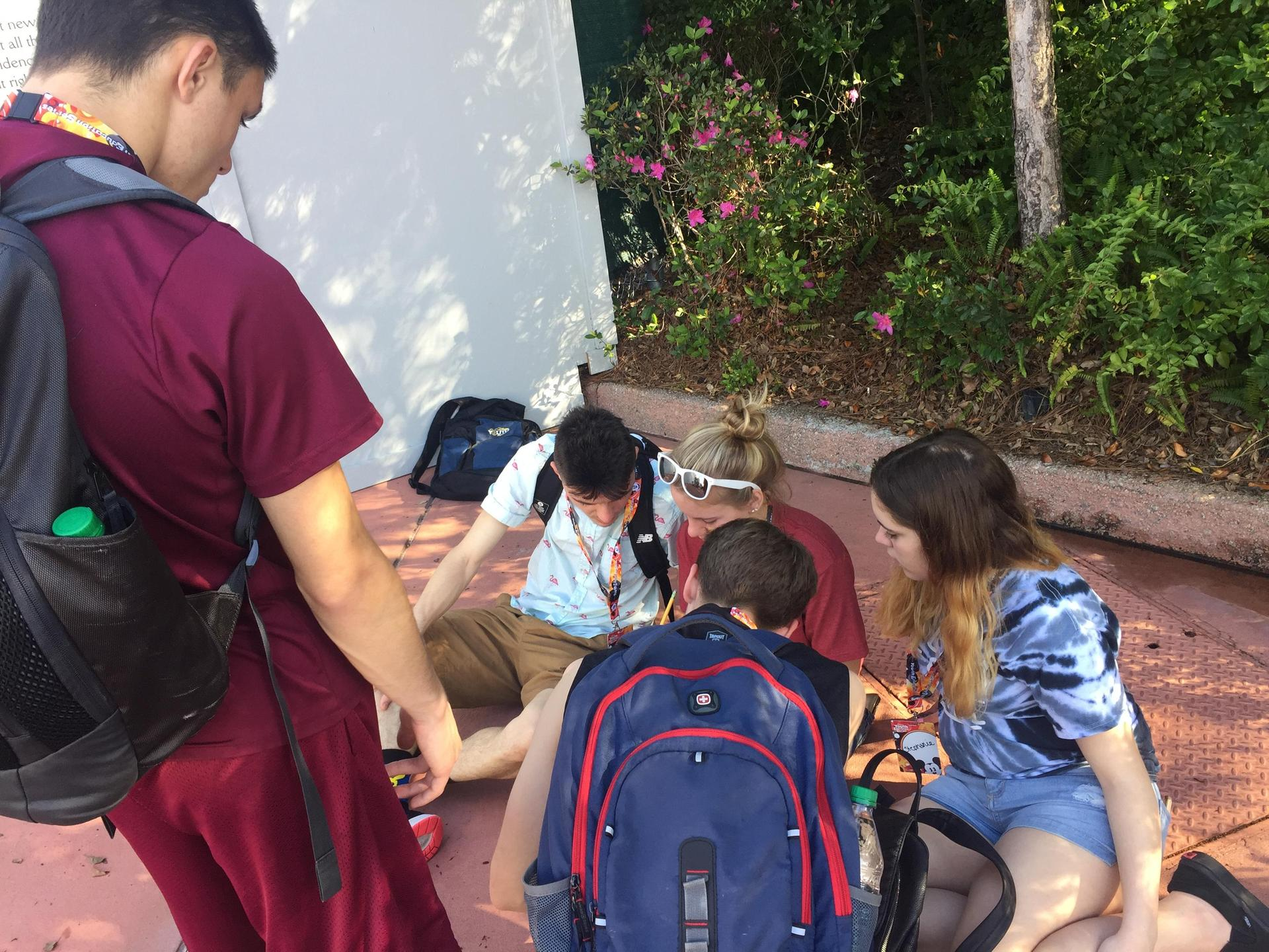 Students complete their task at Disney's EPCOT