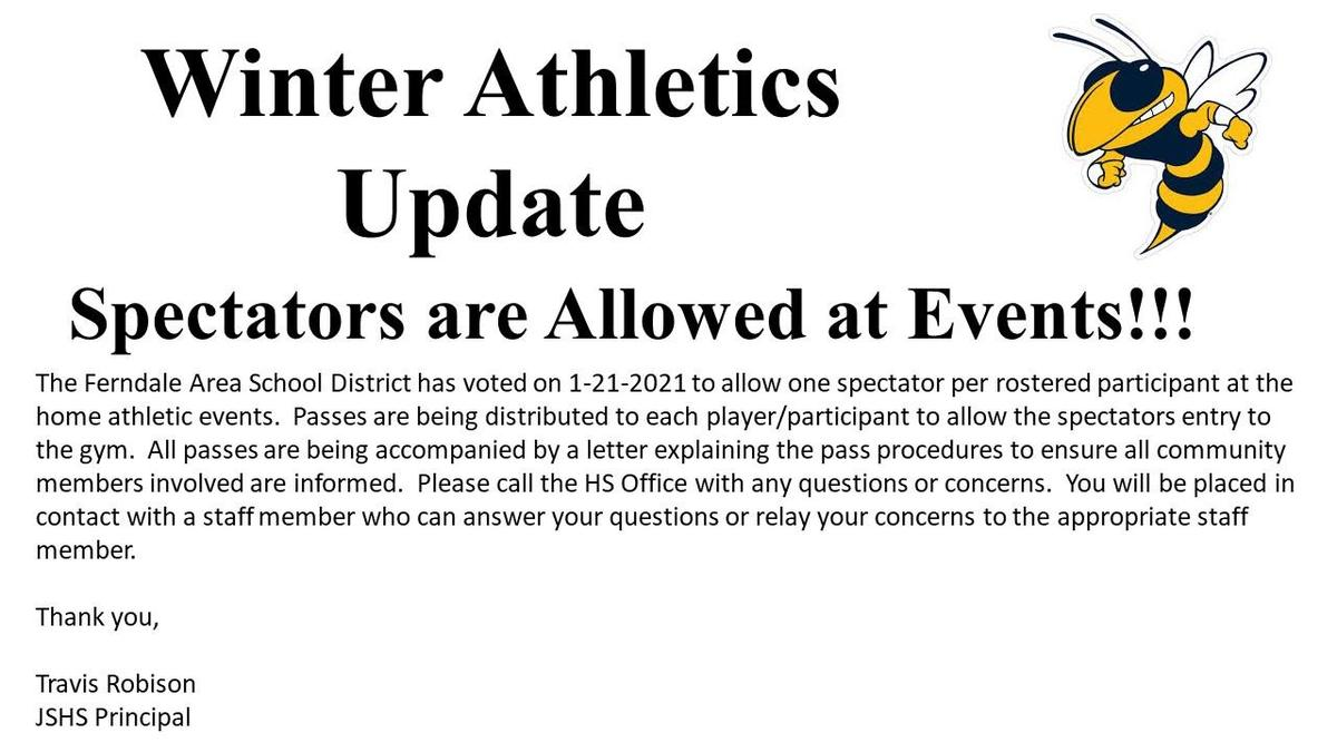 Spectators Allowed at Athletic Events