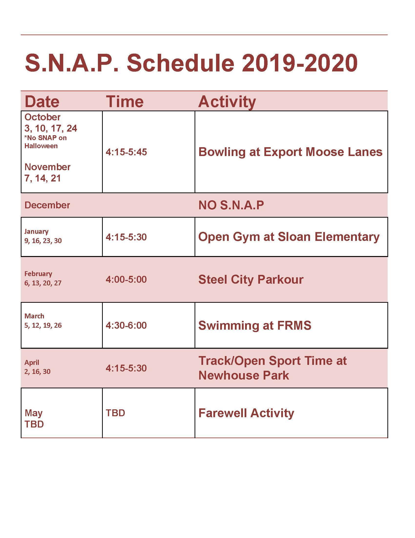 S.N.A.P. Schedule 2019-2020