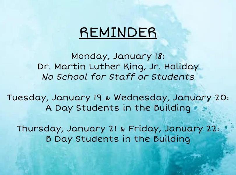 Reminder for 1/18-1/22