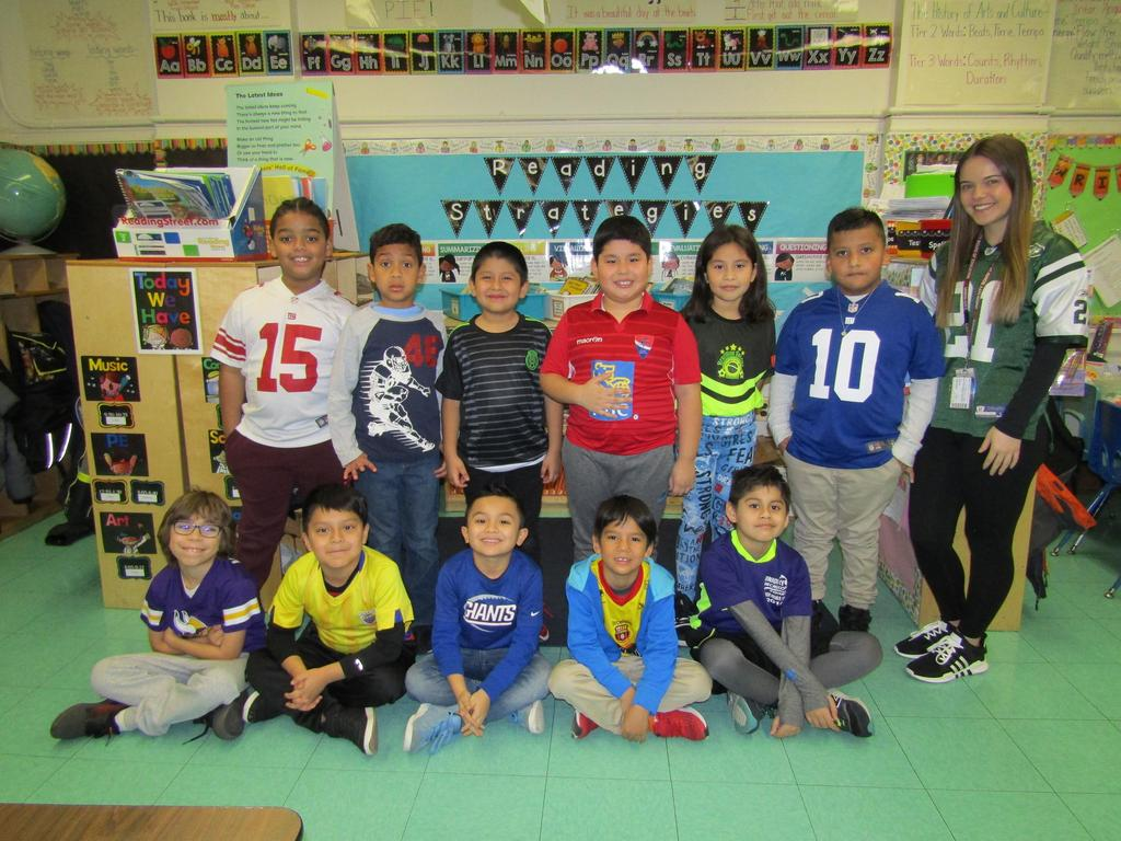 Ms. Carerra's Class wearing their sports Jerseys