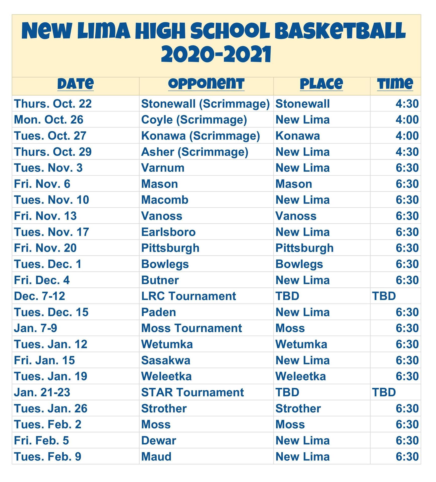 High School Basketball Schedule