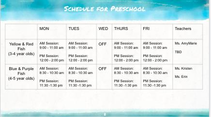 iPals Schedule