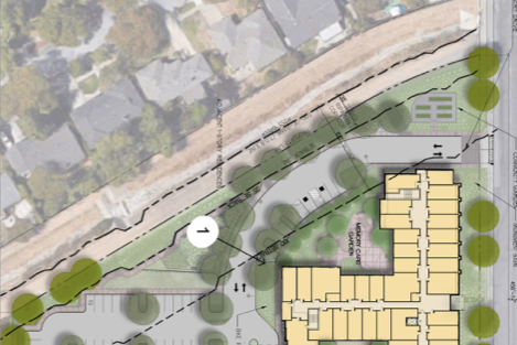 Enlarged site plan at the edge of Ross Creek