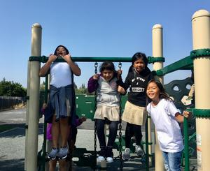Students rekindling with friends on the first day of school!