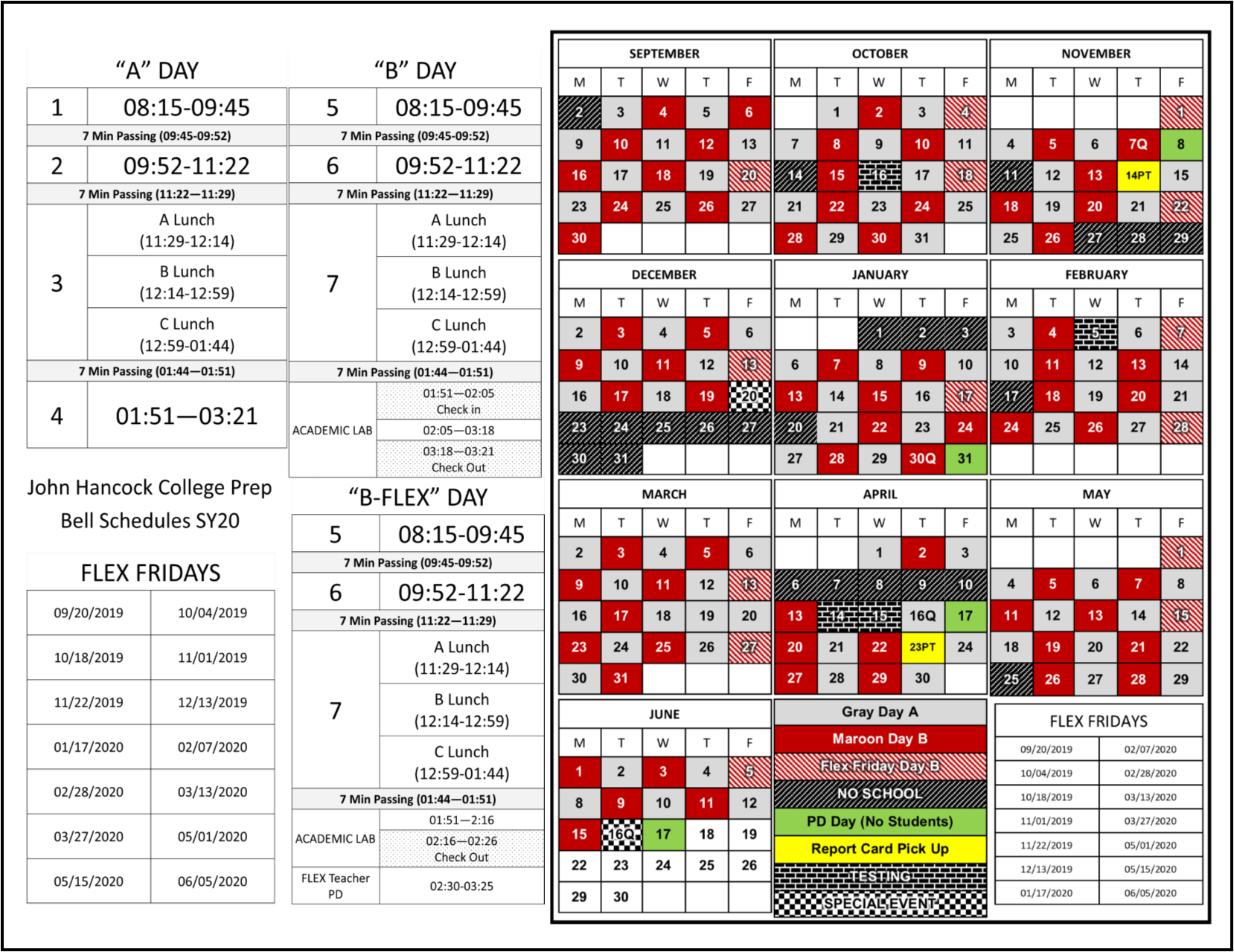 This is the 2019 2020 Hancock Bell Schedule indicating which days are A, B, or B Flex.