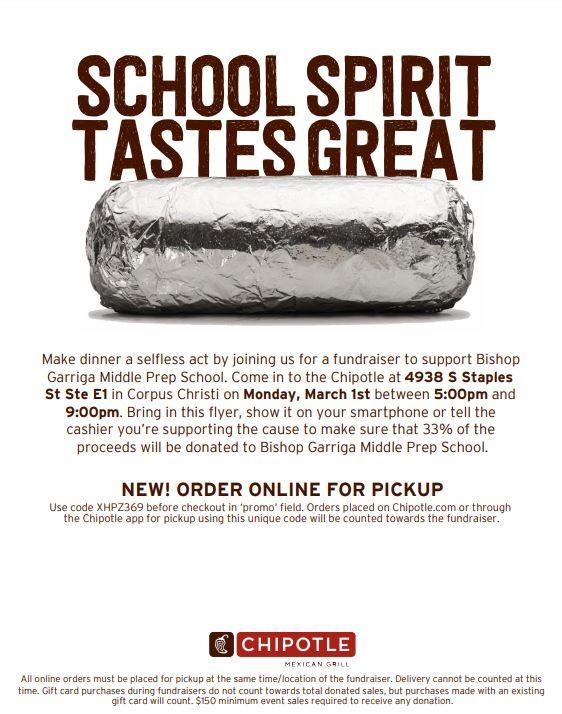 Chipotle Fundraiser 3/1 Featured Photo