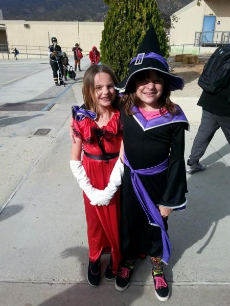 Two students All dressed up in costume