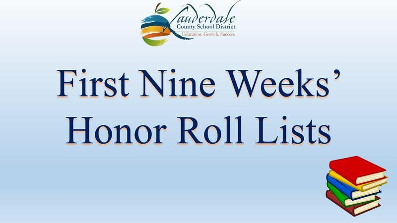 First Nine Weeks' Honor Roll Lists Graphic