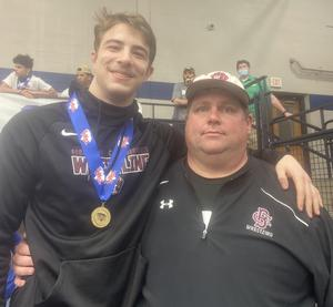 Brookland-Cayce's Jonah Del Priore (shown with Coach Craig Watts) is 3A State Champion in the 170 weight class.