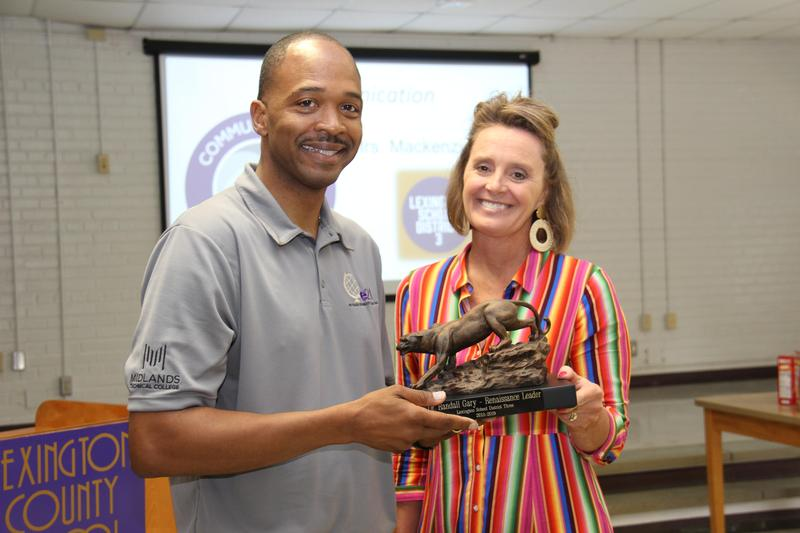 Superintendent Dr. Randall Gary became the first Lexington Three employee to ever receive the Heart of the Panther award on Monday, June 10th.  He is pictured here with Chief Academic Officer Angie Rye who made the presentation.