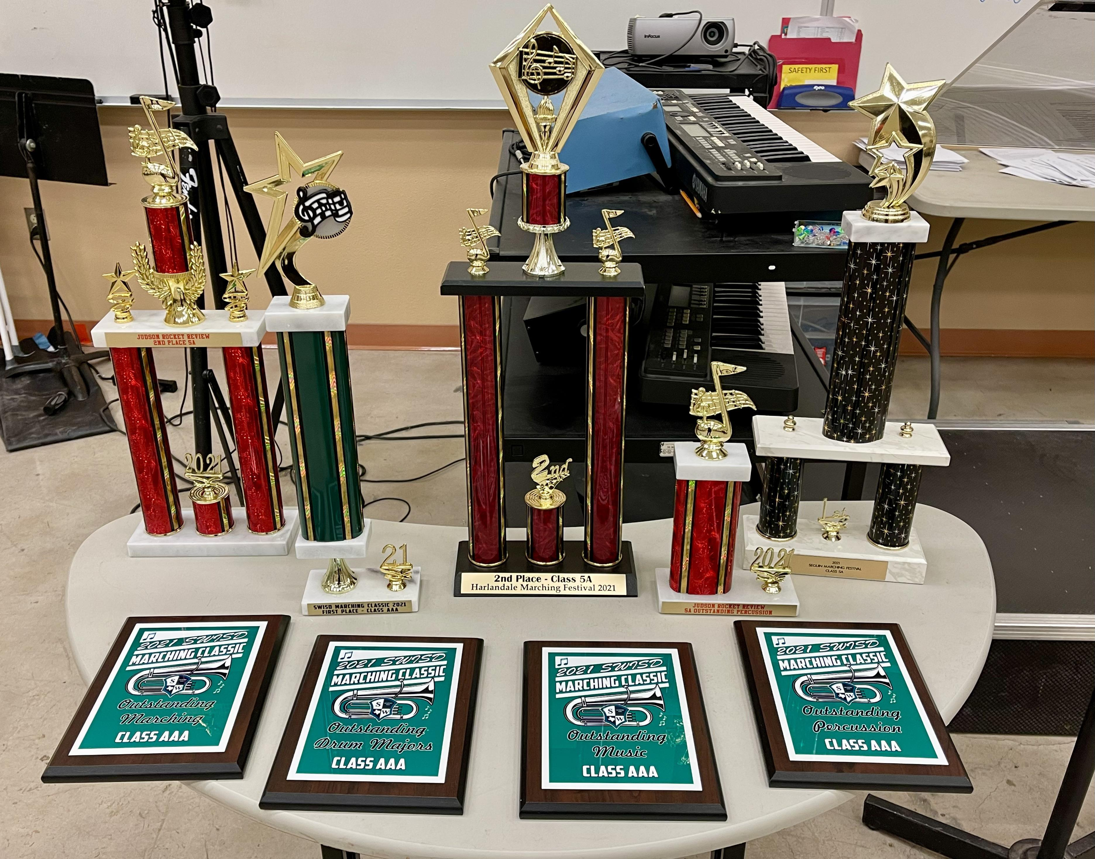 Panther Band Trophies from our Pre-UIL Marching Season!