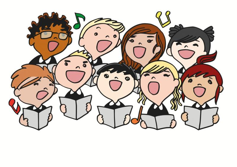 Cartoon choir singing