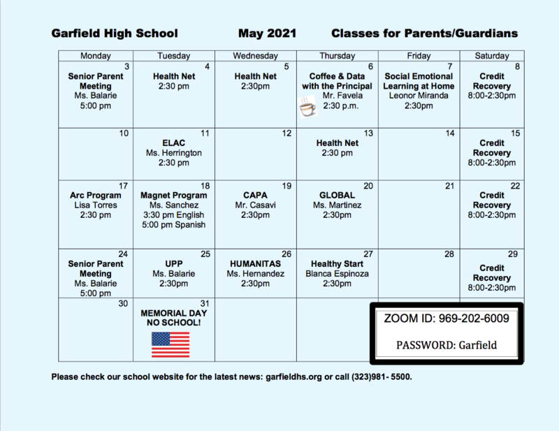 May Parent Calendar