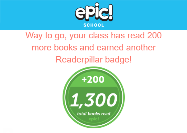 Mr. Biggs' class read 1300 books!