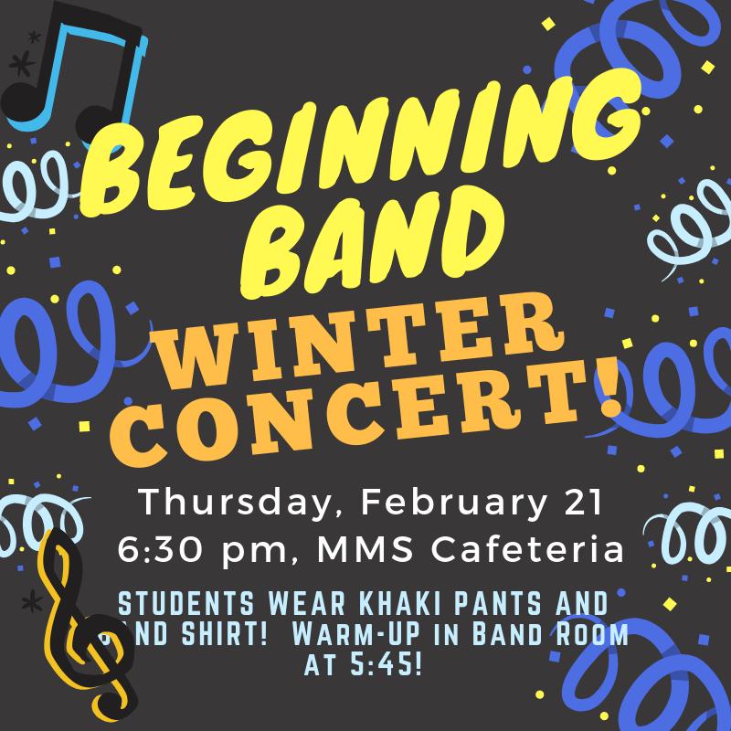 MMS Winter Beginner Band Concert! Thumbnail Image