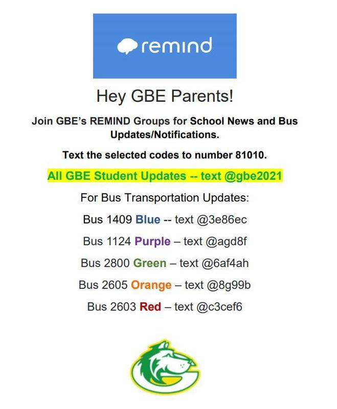 Are you signed up for GBE Remind Updates? Featured Photo