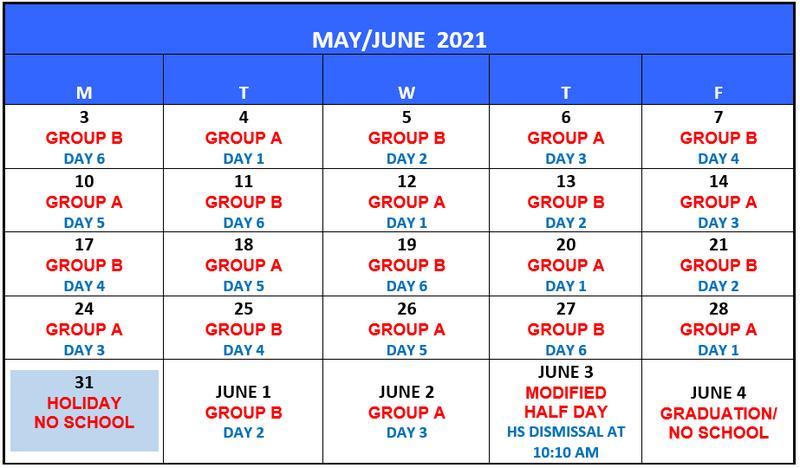MAY/JUNE A/B 2021 CALENDAR