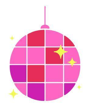 Pink and red disco ball with yellow stars