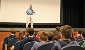 Powerful presentation at Roosevelt Intermediate School today as Dr. Paul Wichansky talks about the transformative nature of kindness and the importance of positivity. Dr. Paul, who was born with cerebral palsy and hearing loss (justthewayyouare.com), also visited Edison Intermediate School.