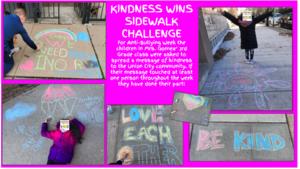 Kindness sidewalk chalk drawings