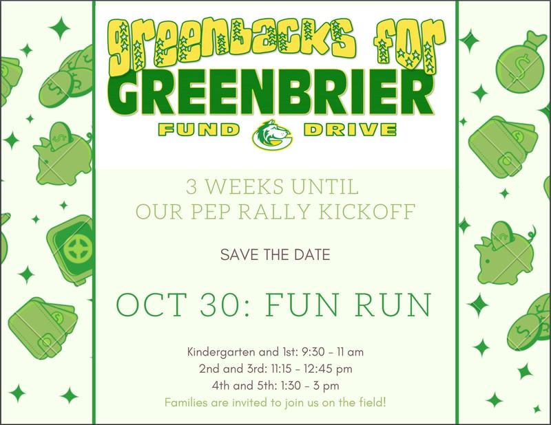 Greenbacks for Greenbrier Fun Run!  Save the Date! Featured Photo