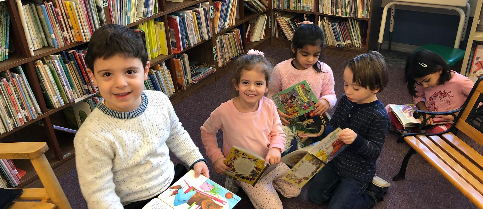 Upper School Library students reading