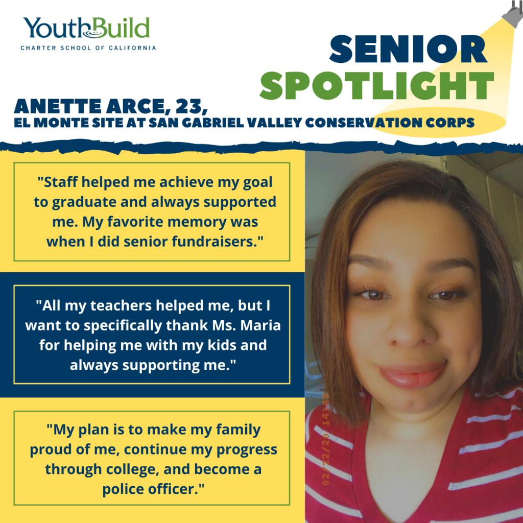 Senior Spotlight for graduate Anette Arce