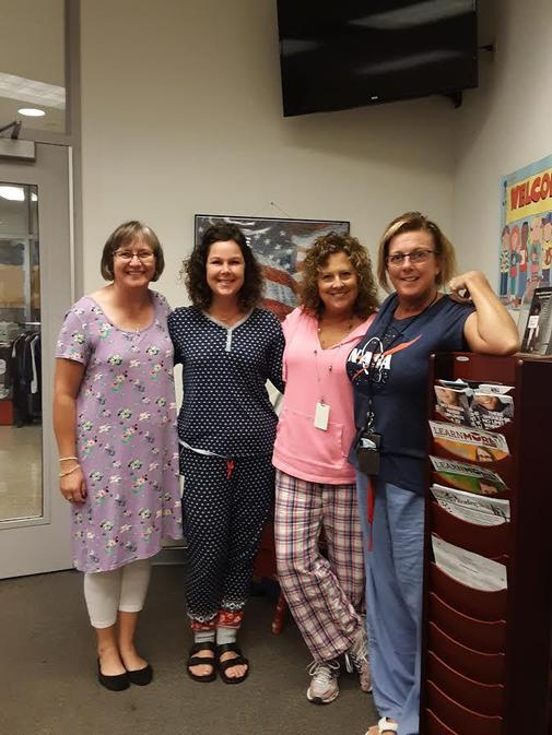office staff -homecoming pajama day