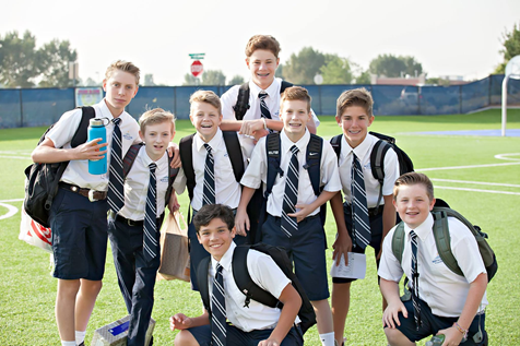 Middle school students in uniform.