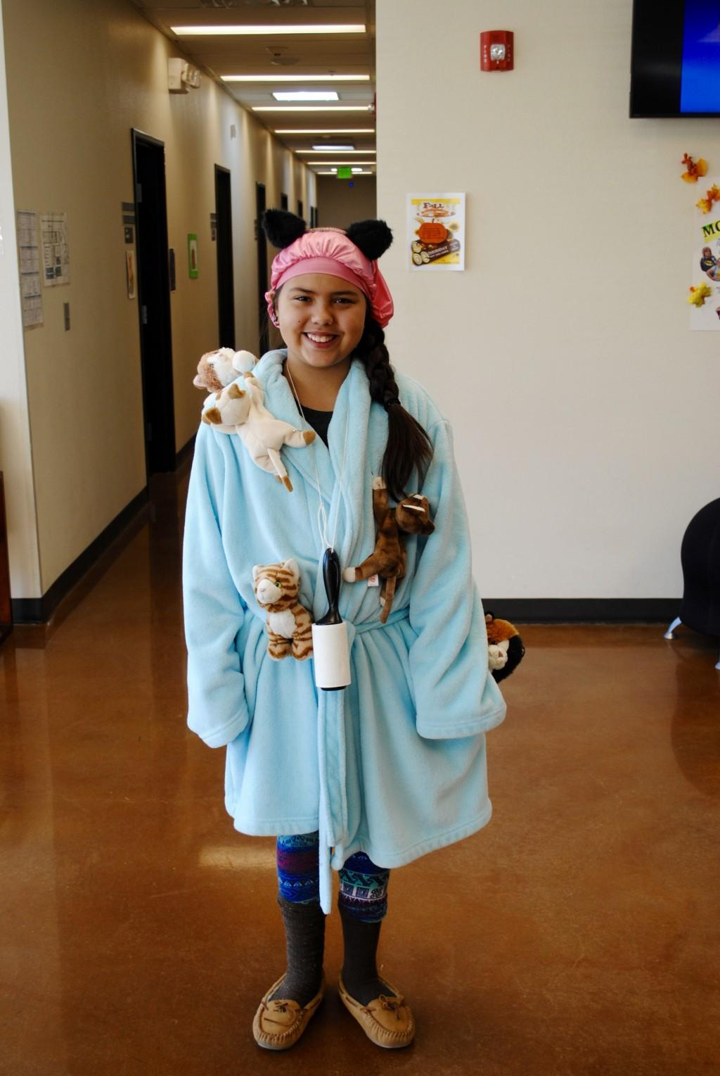 Student dressed as a cat lady