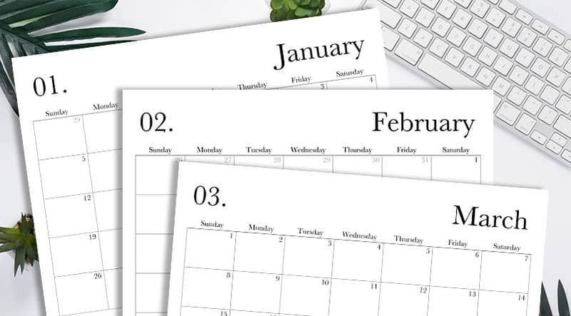 image of calendar pages on desktop