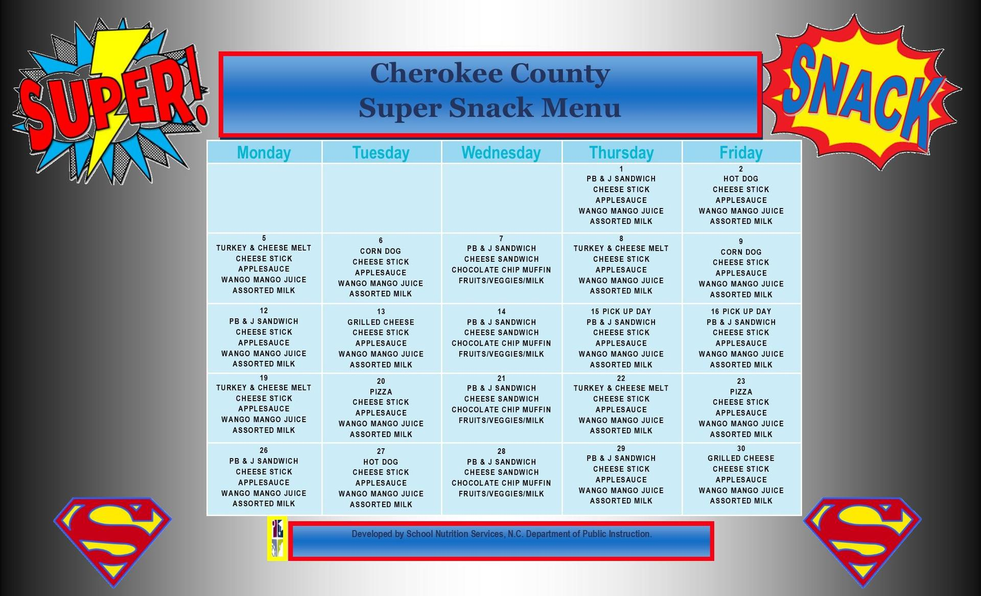 October Super Snack Menu